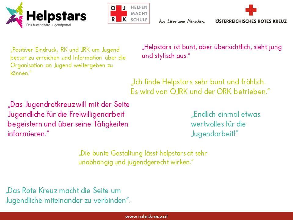 www.roteskreuz.at Helpstars ist bunt, aber übersichtlich, sieht jung und stylisch aus. Das Jugendrotkreuz will mit der Seite Jugendliche für die Freiw