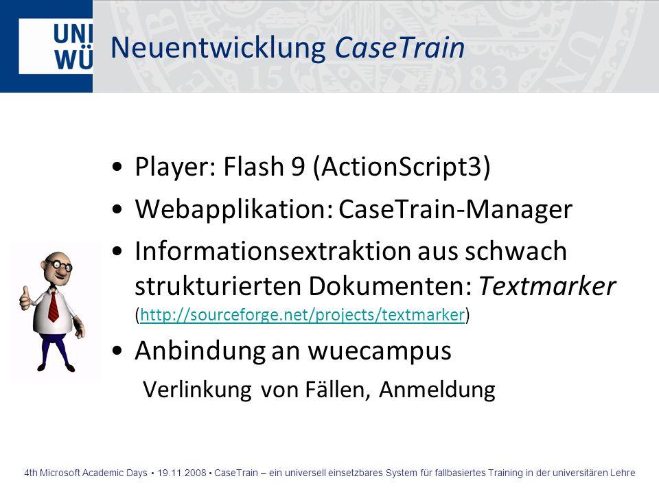 4th Microsoft Academic Days 19.11.2008 CaseTrain – ein universell einsetzbares System für fallbasiertes Training in der universitären Lehre Neuentwick