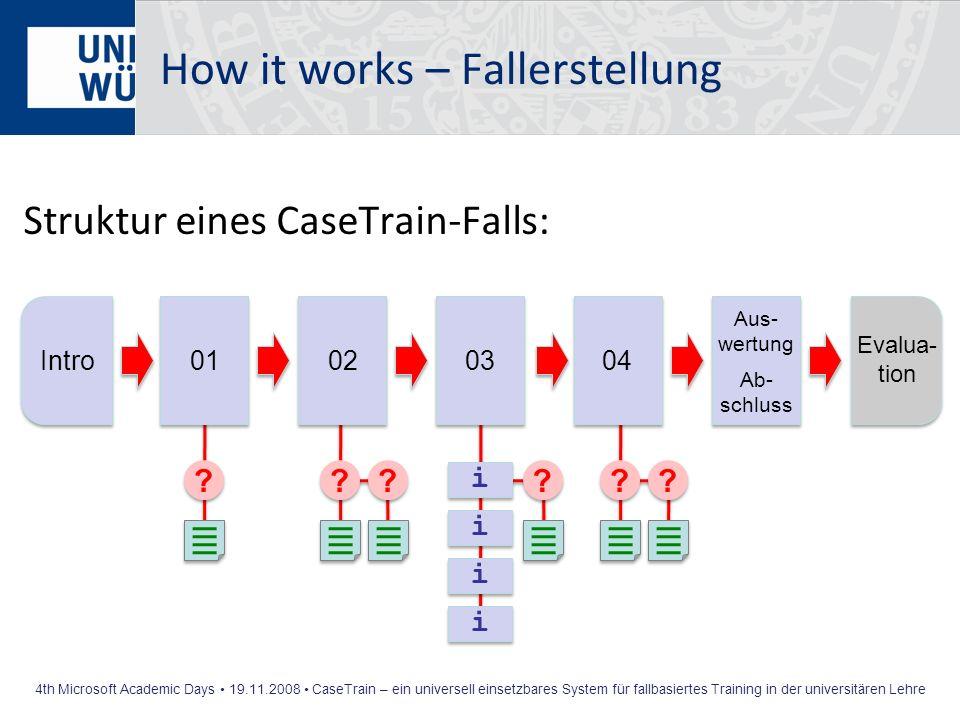 4th Microsoft Academic Days 19.11.2008 CaseTrain – ein universell einsetzbares System für fallbasiertes Training in der universitären Lehre How it wor
