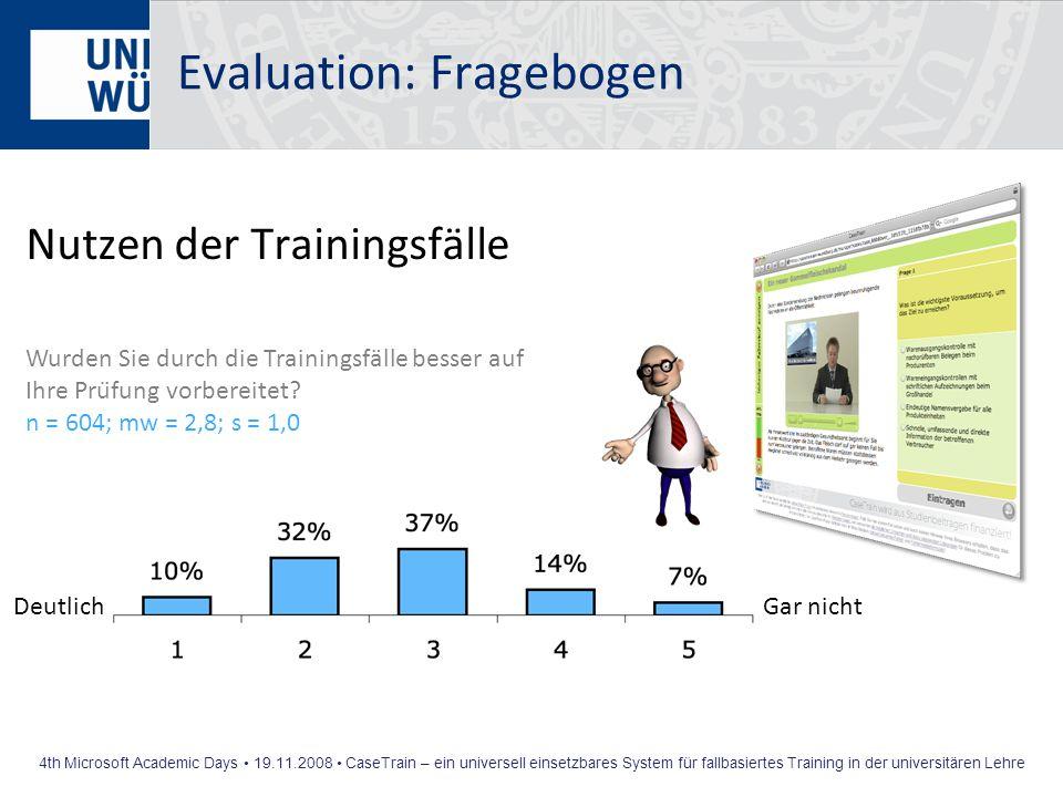 4th Microsoft Academic Days 19.11.2008 CaseTrain – ein universell einsetzbares System für fallbasiertes Training in der universitären Lehre Evaluation