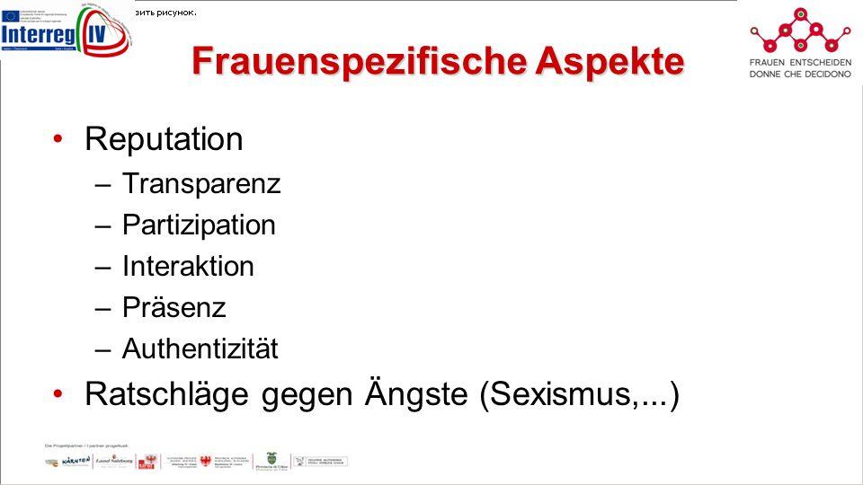 Frauenspezifische Aspekte Reputation –Transparenz –Partizipation –Interaktion –Präsenz –Authentizität Ratschläge gegen Ängste (Sexismus,...)