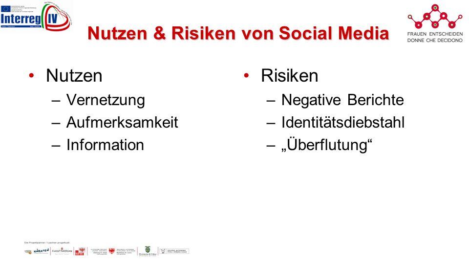 Nutzen & Risiken von Social Media Nutzen –Vernetzung –Aufmerksamkeit –Information Risiken –Negative Berichte –Identitätsdiebstahl –Überflutung
