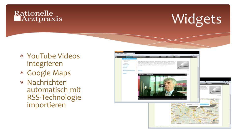 Widgets YouTube Videos integrieren Google Maps Nachrichten automatisch mit RSS-Technologie importieren