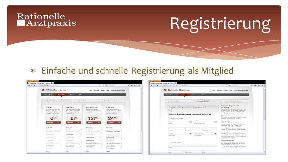 Einfache und schnelle Registrierung als Mitglied Registrierung