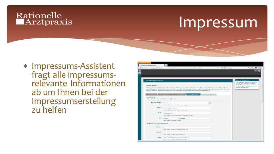 Impressum Impressums-Assistent fragt alle impressums- relevante Informationen ab um Ihnen bei der Impressumserstellung zu helfen
