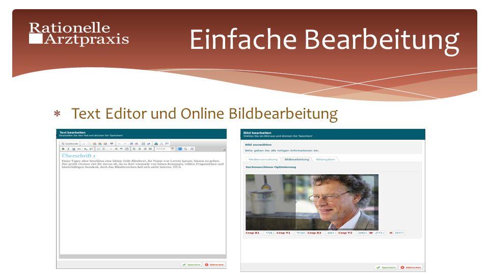 Text Editor und Online Bildbearbeitung Einfache Bearbeitung