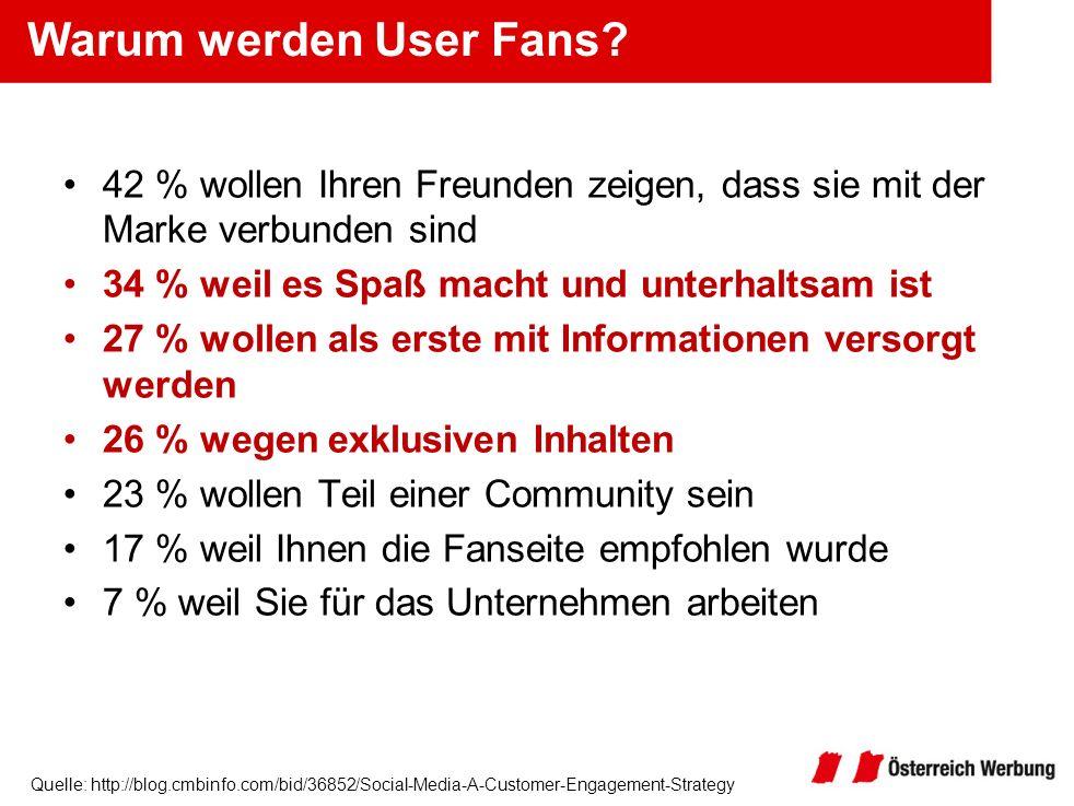Quelle: http://blog.cmbinfo.com/bid/36852/Social-Media-A-Customer-Engagement-Strategy Warum werden User Fans? 42 % wollen Ihren Freunden zeigen, dass