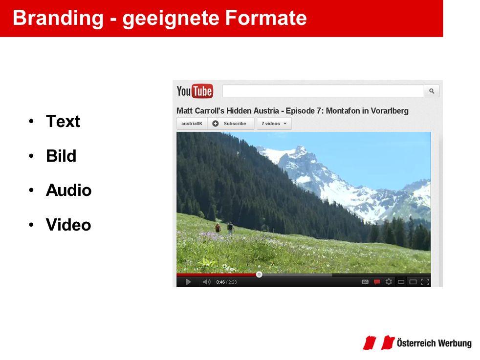 Branding - geeignete Formate Text Bild Audio Video