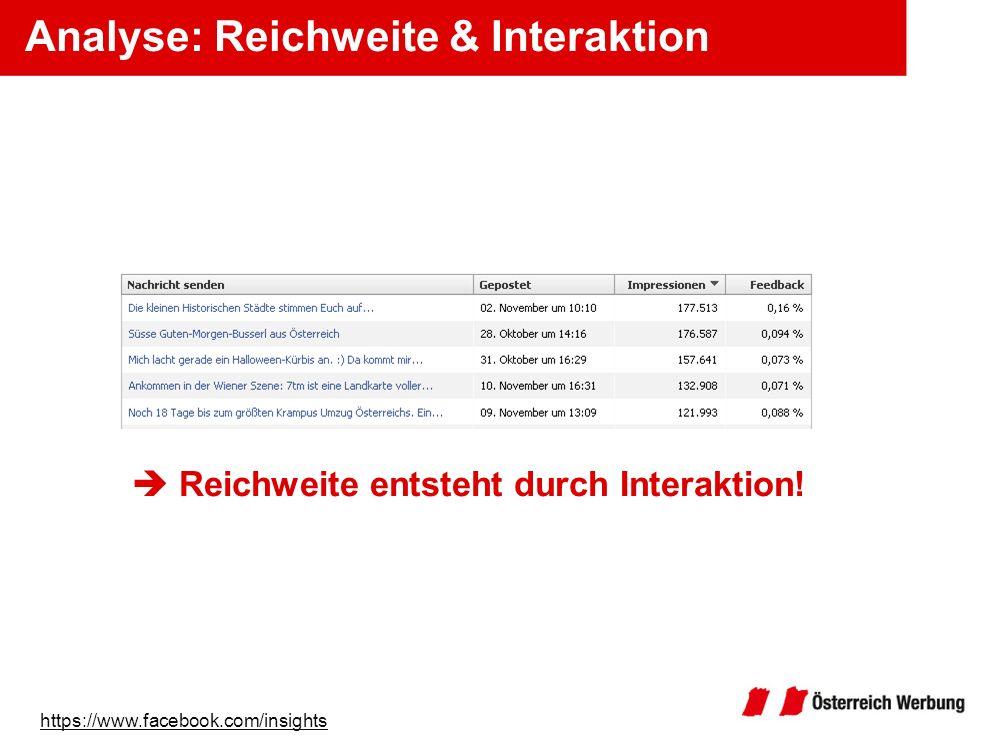 Analyse: Reichweite & Interaktion Reichweite entsteht durch Interaktion! https://www.facebook.com/insights