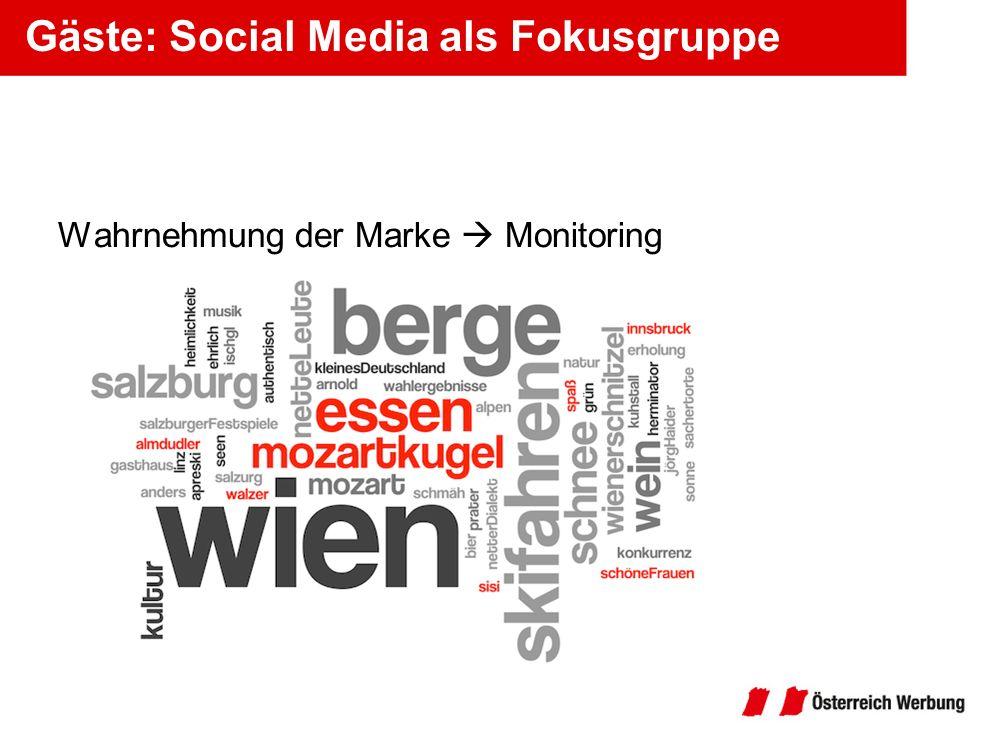 Gäste: Social Media als Fokusgruppe Wahrnehmung der Marke Monitoring