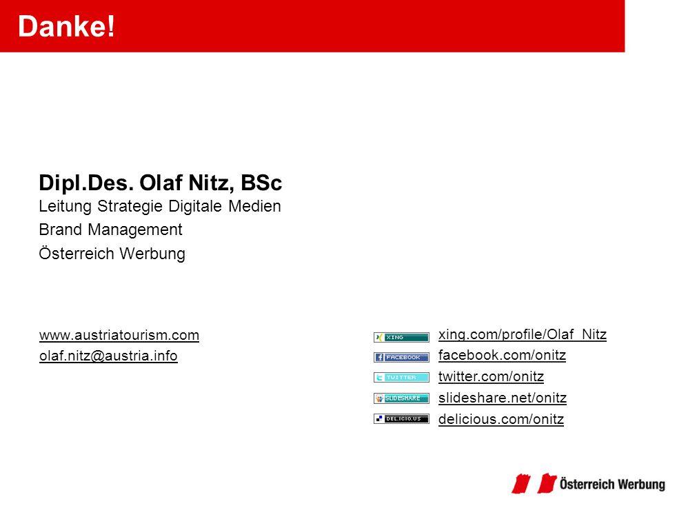 Danke! www.austriatourism.com olaf.nitz@austria.info Dipl.Des. Olaf Nitz, BSc Leitung Strategie Digitale Medien Brand Management Österreich Werbung xi