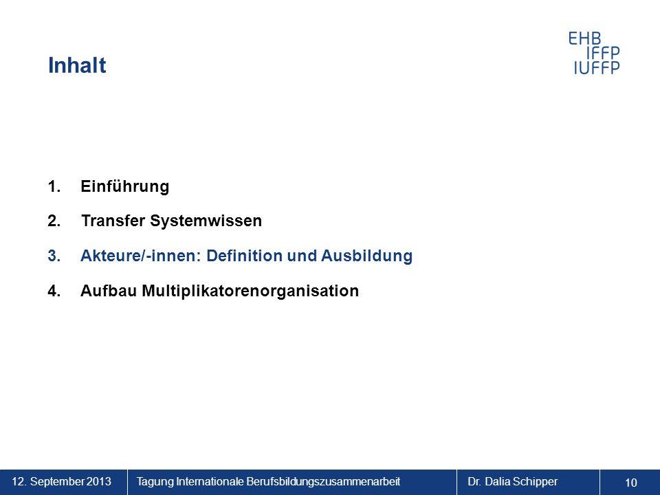 12. September 2013 10 Tagung Internationale BerufsbildungszusammenarbeitDr. Dalia Schipper Inhalt 1.Einführung 2.Transfer Systemwissen 3.Akteure/-inne