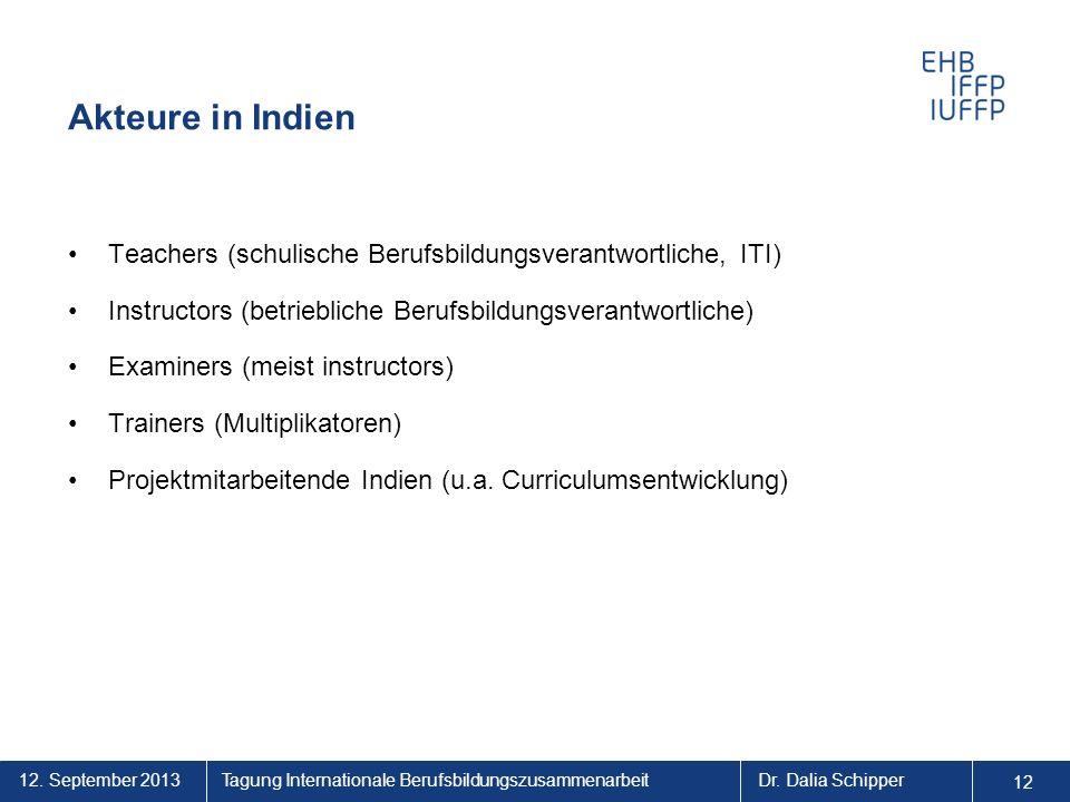 12. September 2013 12 Tagung Internationale BerufsbildungszusammenarbeitDr. Dalia Schipper Akteure in Indien Teachers (schulische Berufsbildungsverant