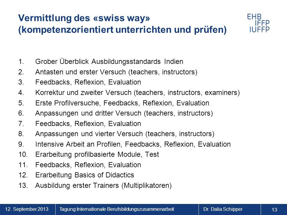 12. September 2013 13 Tagung Internationale BerufsbildungszusammenarbeitDr. Dalia Schipper Vermittlung des «swiss way» (kompetenzorientiert unterricht
