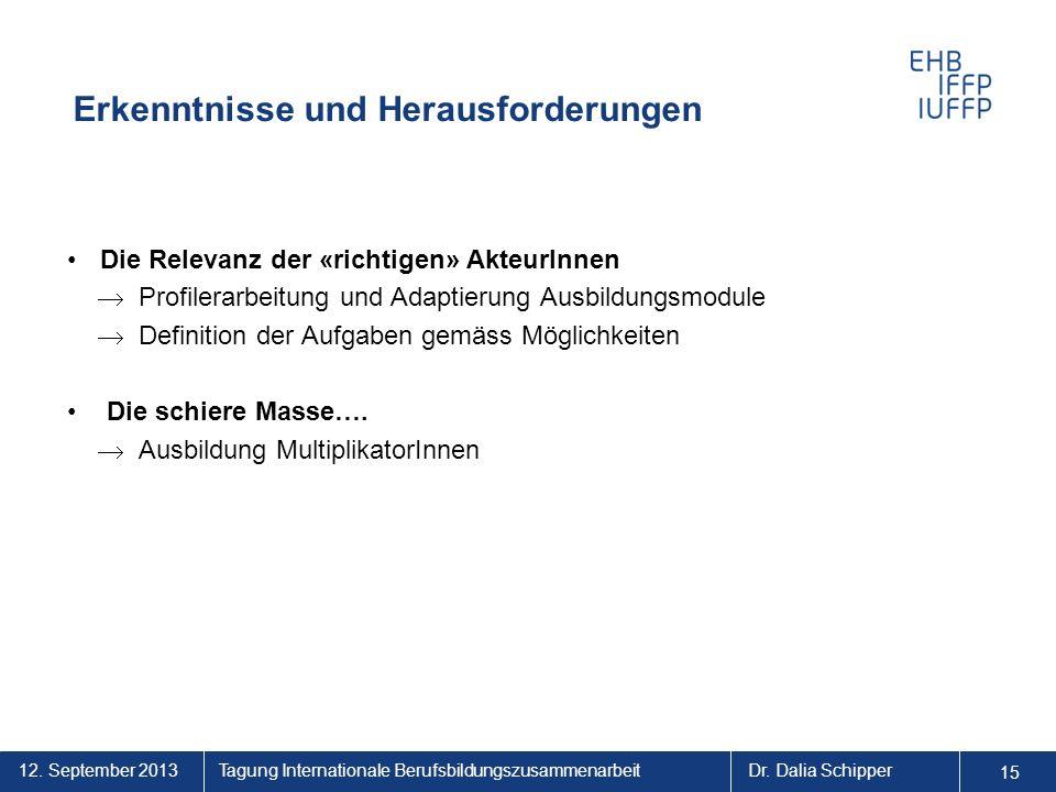 12. September 2013 15 Tagung Internationale BerufsbildungszusammenarbeitDr. Dalia Schipper Erkenntnisse und Herausforderungen Die Relevanz der «richti