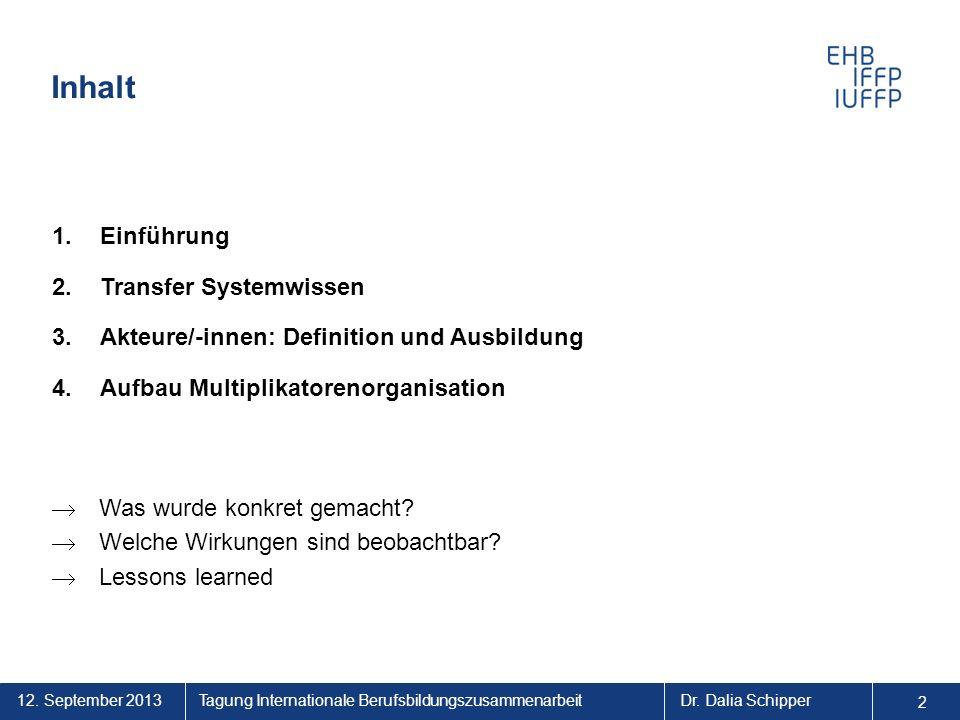 2 Tagung Internationale BerufsbildungszusammenarbeitDr. Dalia Schipper Inhalt 1.Einführung 2.Transfer Systemwissen 3.Akteure/-innen: Definition und Au