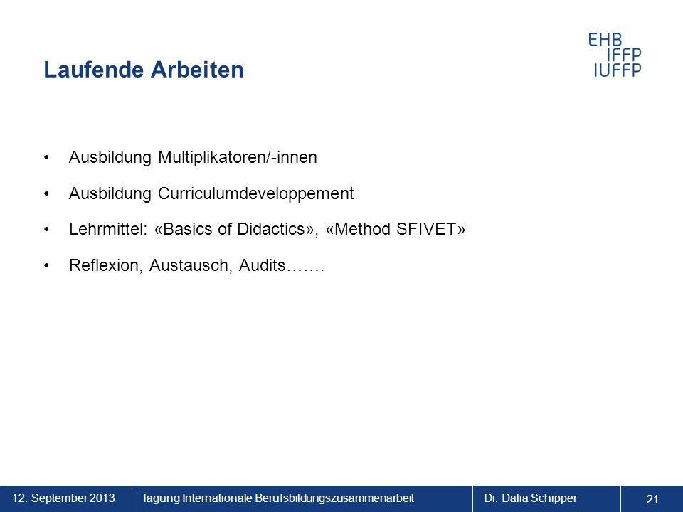 12.September 2013 21 Tagung Internationale BerufsbildungszusammenarbeitDr.