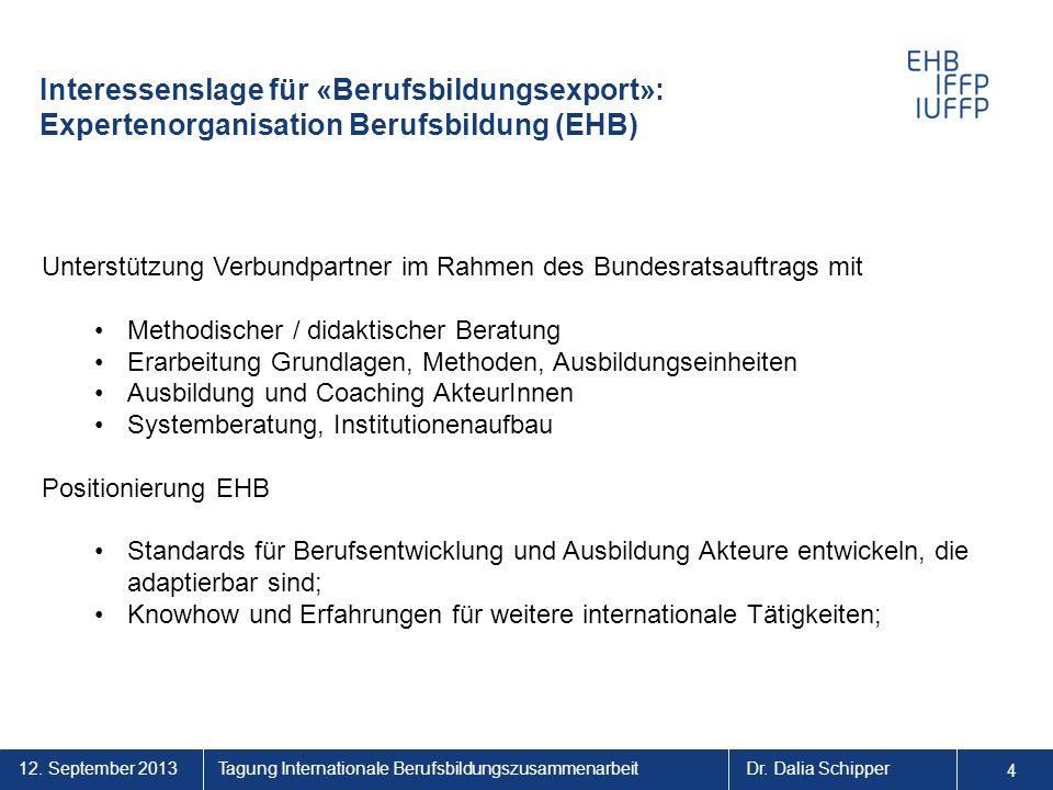 12. September 2013 4 Tagung Internationale BerufsbildungszusammenarbeitDr. Dalia Schipper 44 Unterstützung Verbundpartner im Rahmen des Bundesratsauft