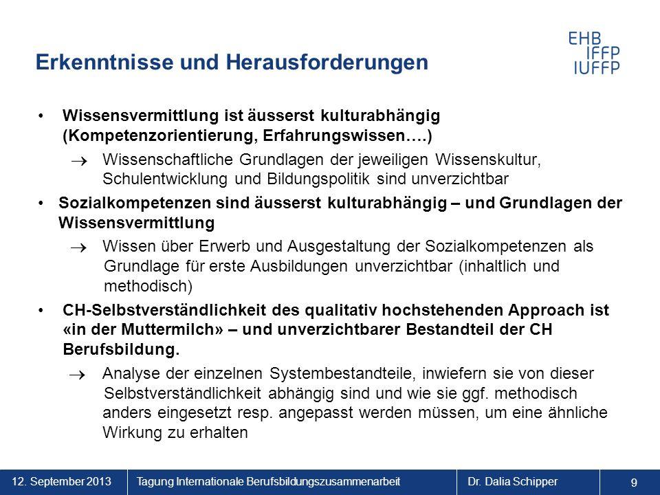 12. September 2013 9 Tagung Internationale BerufsbildungszusammenarbeitDr. Dalia Schipper Erkenntnisse und Herausforderungen Wissensvermittlung ist äu