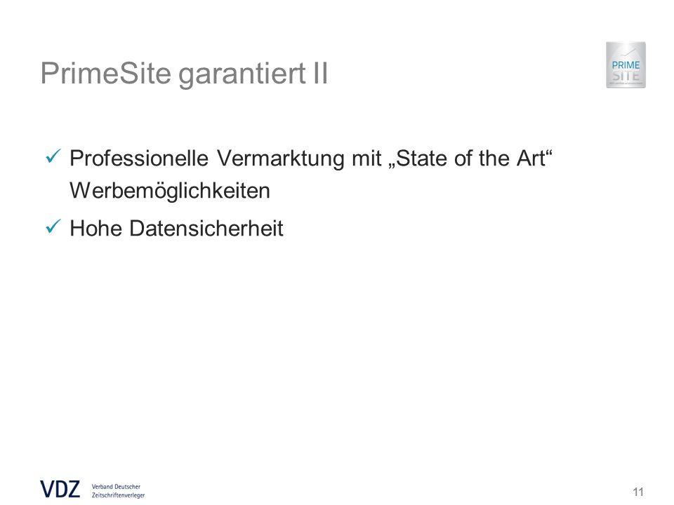 PrimeSite garantiert II Professionelle Vermarktung mit State of the Art Werbemöglichkeiten Hohe Datensicherheit 11