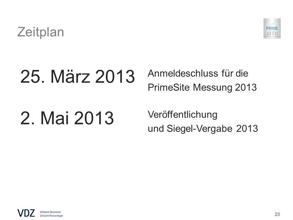 Zeitplan 20 25. März 2013 Anmeldeschluss für die PrimeSite Messung 2013 2.