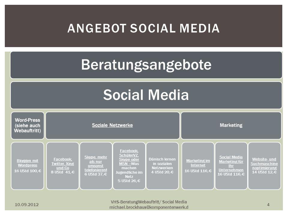 ANGEBOT SOCIAL MEDIA BeratungsangeboteSocial Media Word-Press (siehe auch Webauftritt) Bloggen mit Wordpress 16 UStd 100,- Soziale Netzwerke Facebook,