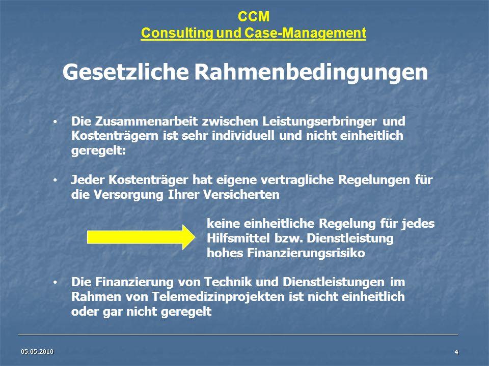 05.05.2010 4 CCM Consulting und Case-Management Gesetzliche Rahmenbedingungen Die Zusammenarbeit zwischen Leistungserbringer und Kostenträgern ist seh
