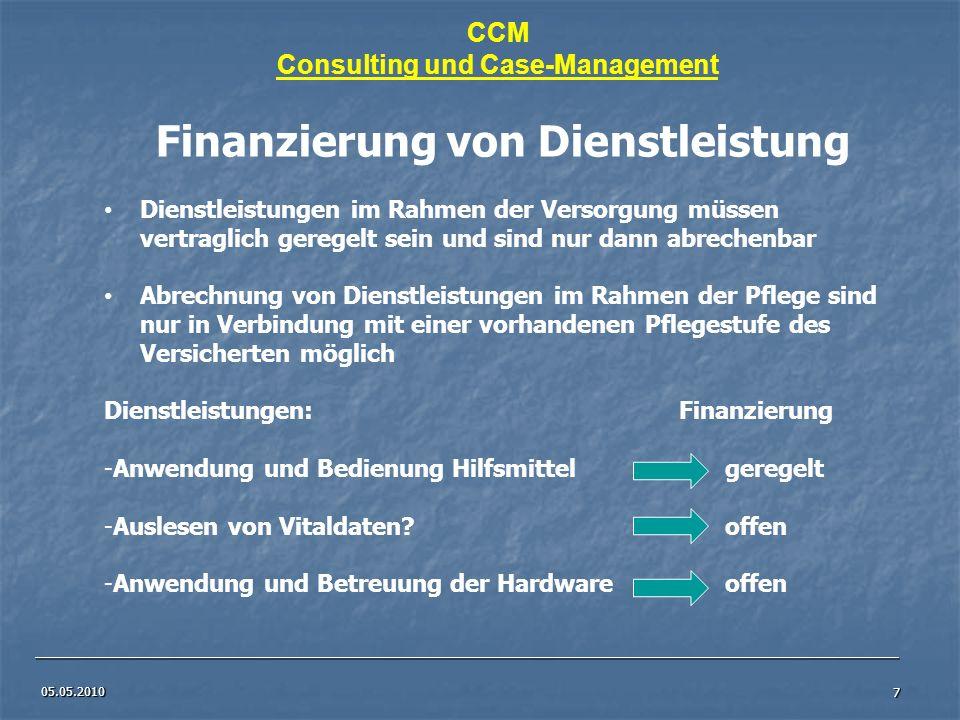 05.05.2010 7 Finanzierung von Dienstleistung Dienstleistungen im Rahmen der Versorgung müssen vertraglich geregelt sein und sind nur dann abrechenbar