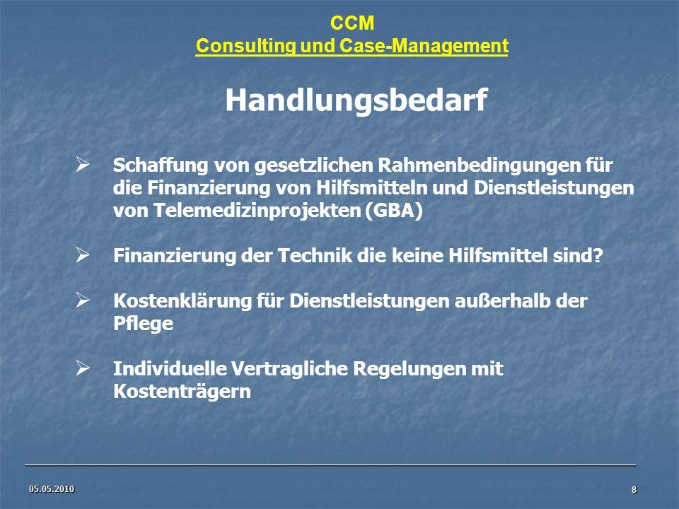 05.05.2010 8 Handlungsbedarf Schaffung von gesetzlichen Rahmenbedingungen für die Finanzierung von Hilfsmitteln und Dienstleistungen von Telemedizinpr