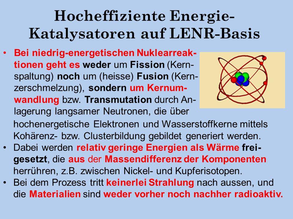 Hocheffiziente Energie- Katalysatoren auf LENR-Basis Bei niedrig-energetischen Nuklearreak- tionen geht es weder um Fission (Kern- spaltung) noch um (heisse) Fusion (Kern- zerschmelzung), sondern um Kernum- wandlung bzw.