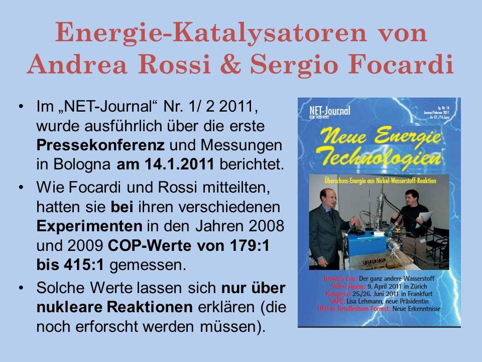 Energie-Katalysatoren von Andrea Rossi & Sergio Focardi Im NET-Journal Nr.