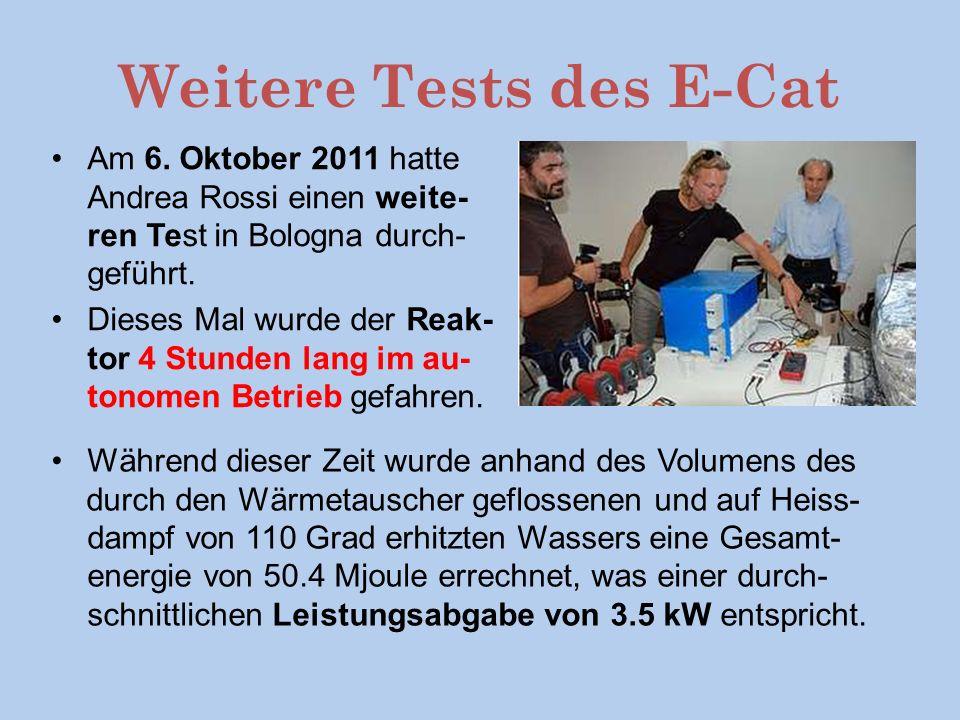 Weitere Tests des E-Cat Am 6.