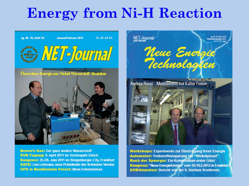 Energy from Ni-H Reaction