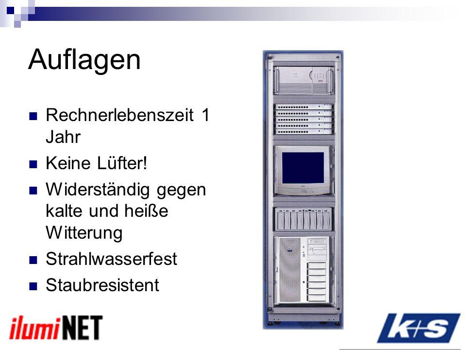Auflagen Rechnerlebenszeit 1 Jahr Keine Lüfter.