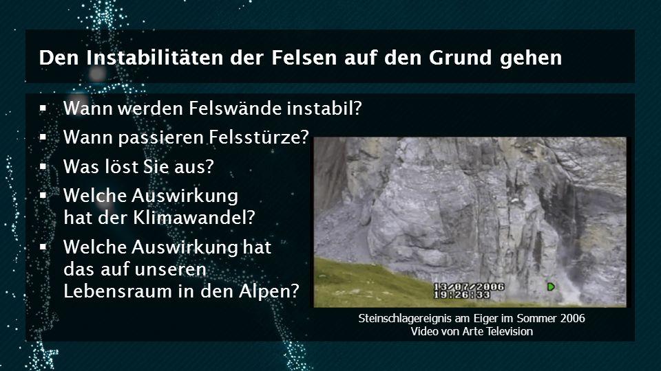 Den Instabilitäten der Felsen auf den Grund gehen Wann werden Felswände instabil? Wann passieren Felsstürze? Was löst Sie aus? Welche Auswirkung hat d