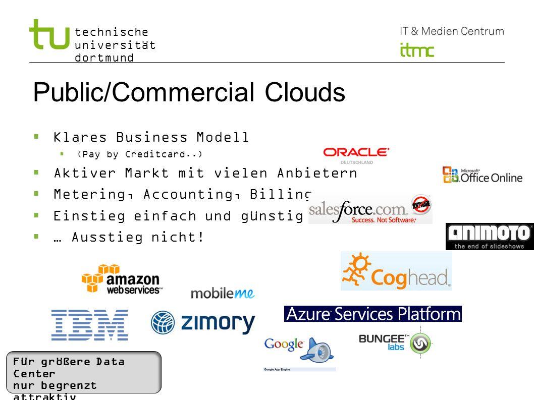technische universität dortmund Public/Commercial Clouds Klares Business Modell (Pay by Creditcard..) Aktiver Markt mit vielen Anbietern Metering, Acc