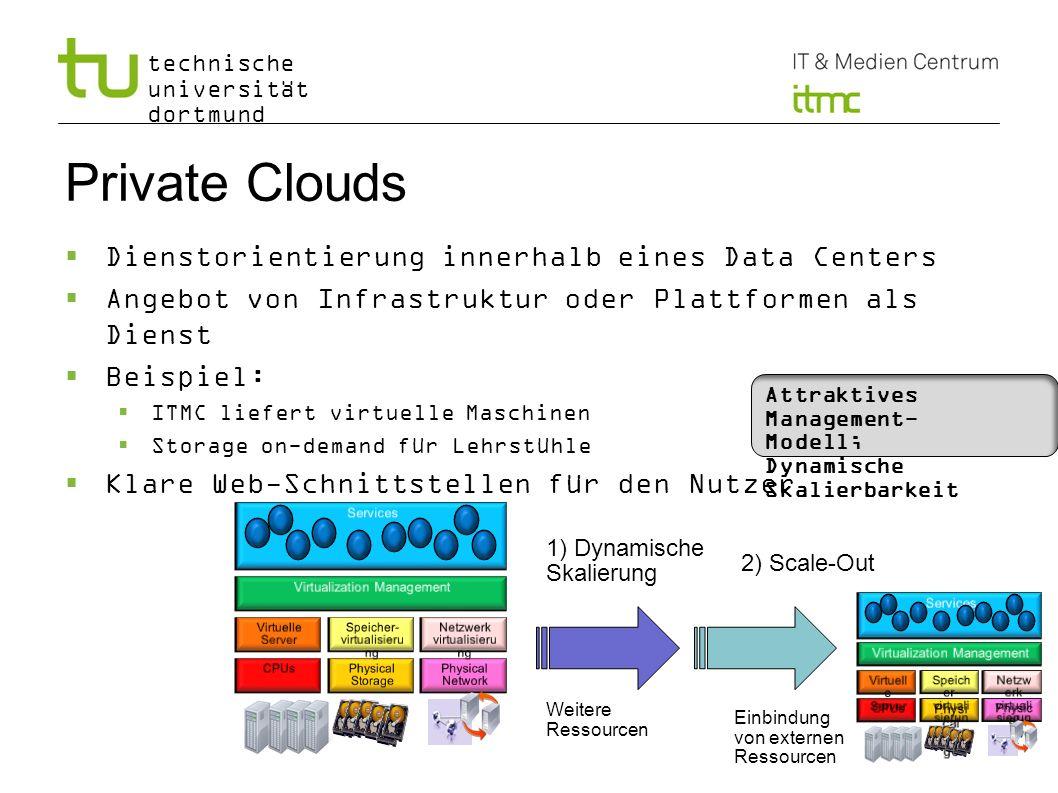 technische universität dortmund Private Clouds Dienstorientierung innerhalb eines Data Centers Angebot von Infrastruktur oder Plattformen als Dienst B