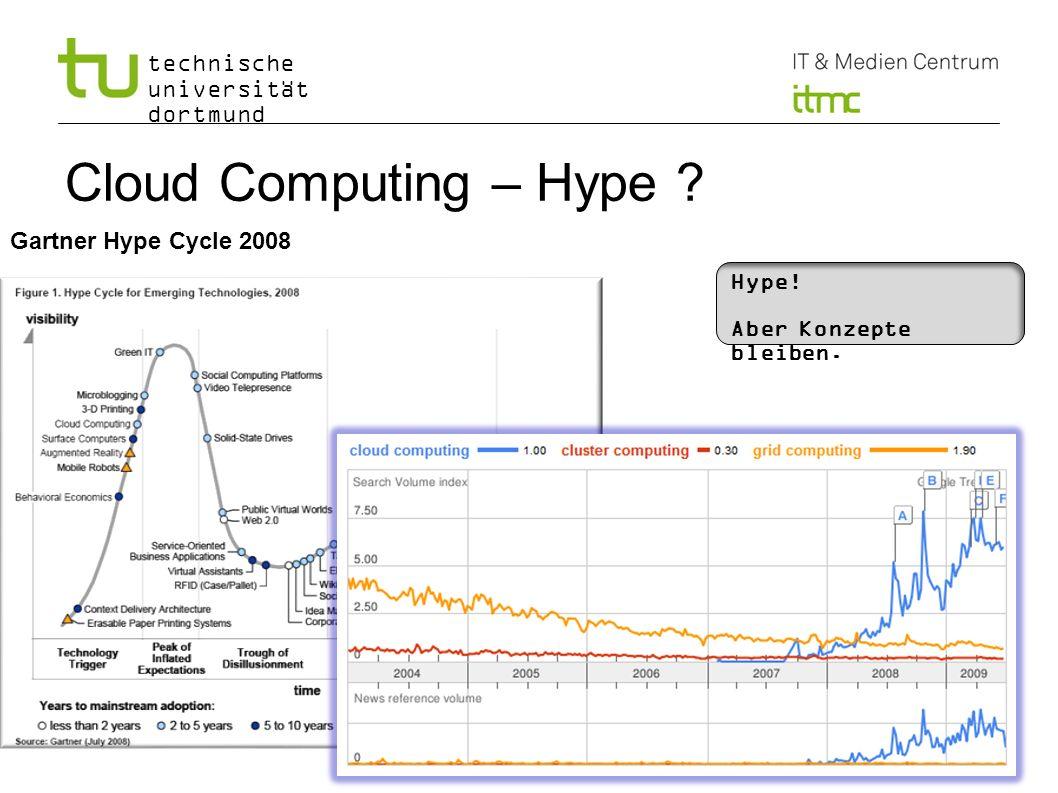 technische universität dortmund Cloud Computing – Hype ? Gartner Hype Cycle 2008 Hype! Aber Konzepte bleiben.