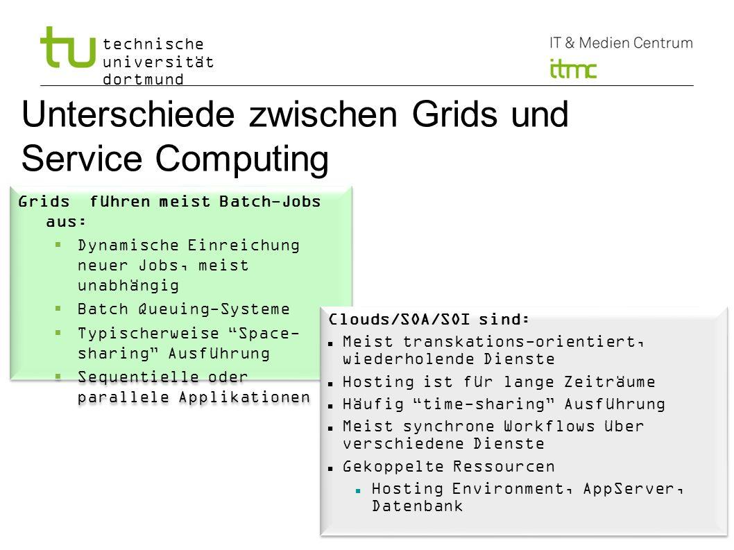 technische universität dortmund Unterschiede zwischen Grids und Service Computing Grids führen meist Batch-Jobs aus: Dynamische Einreichung neuer Jobs