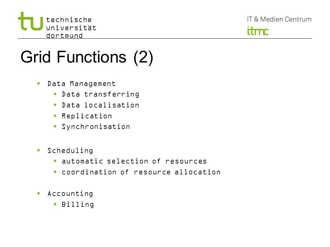 technische universität dortmund Grid Functions (2) Data Management Data transferring Data localisation Replication Synchronisation Scheduling automati
