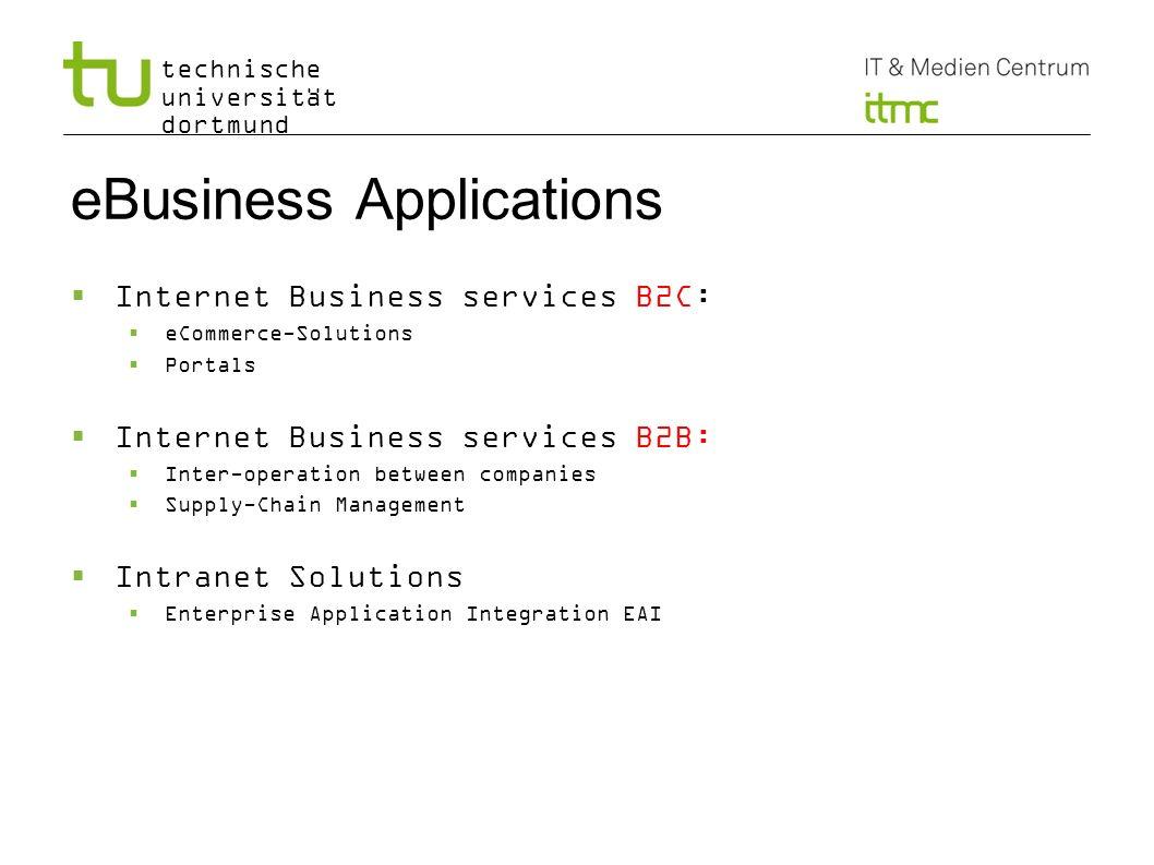 technische universität dortmund eBusiness Applications Internet Business services B2C: eCommerce-Solutions Portals Internet Business services B2B: Int