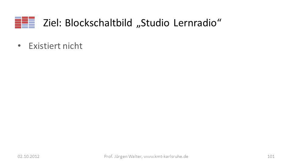 Ziel: Blockschaltbild Studio Lernradio Existiert nicht 02.10.2012Prof. Jürgen Walter, www.kmt-karlsruhe.de101
