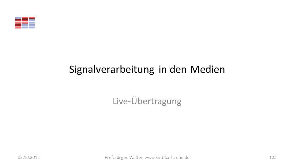 Signalverarbeitung in den Medien Live-Übertragung 02.10.2012Prof. Jürgen Walter, www.kmt-karlsruhe.de103