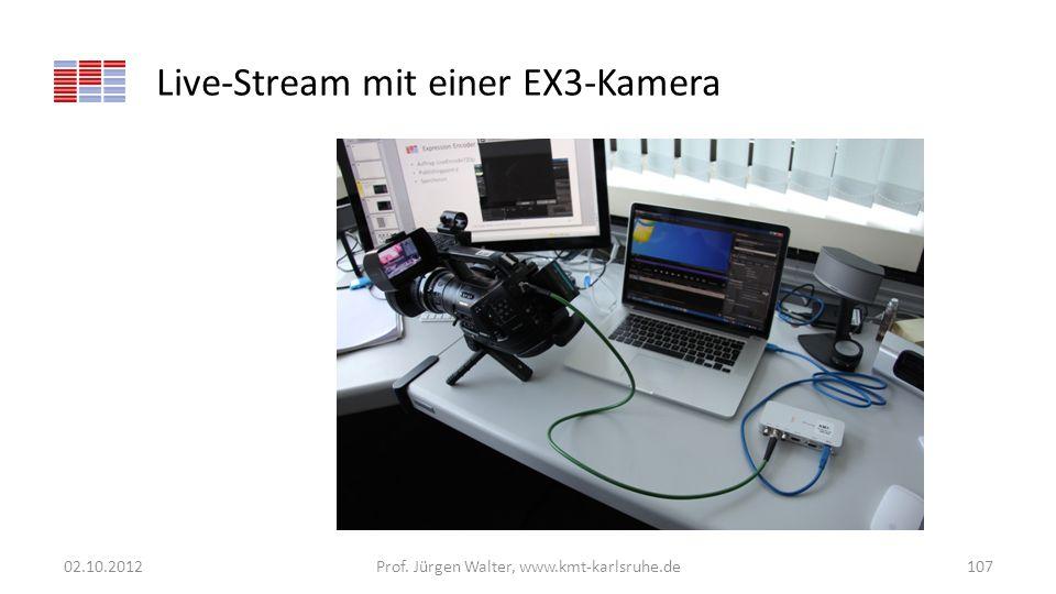 Live-Stream mit einer EX3-Kamera 02.10.2012Prof. Jürgen Walter, www.kmt-karlsruhe.de107