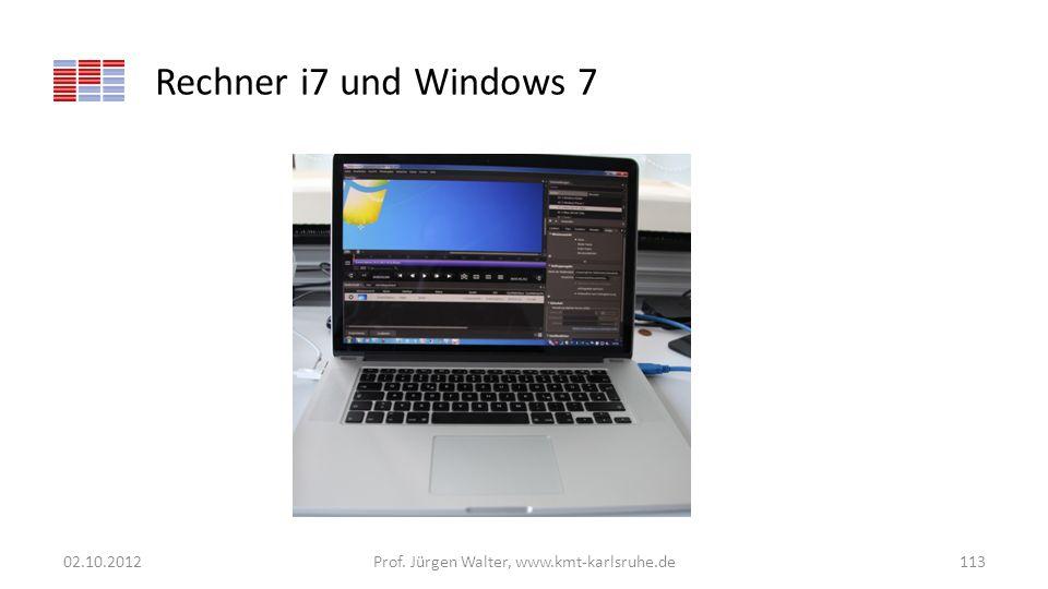 Rechner i7 und Windows 7 02.10.2012Prof. Jürgen Walter, www.kmt-karlsruhe.de113