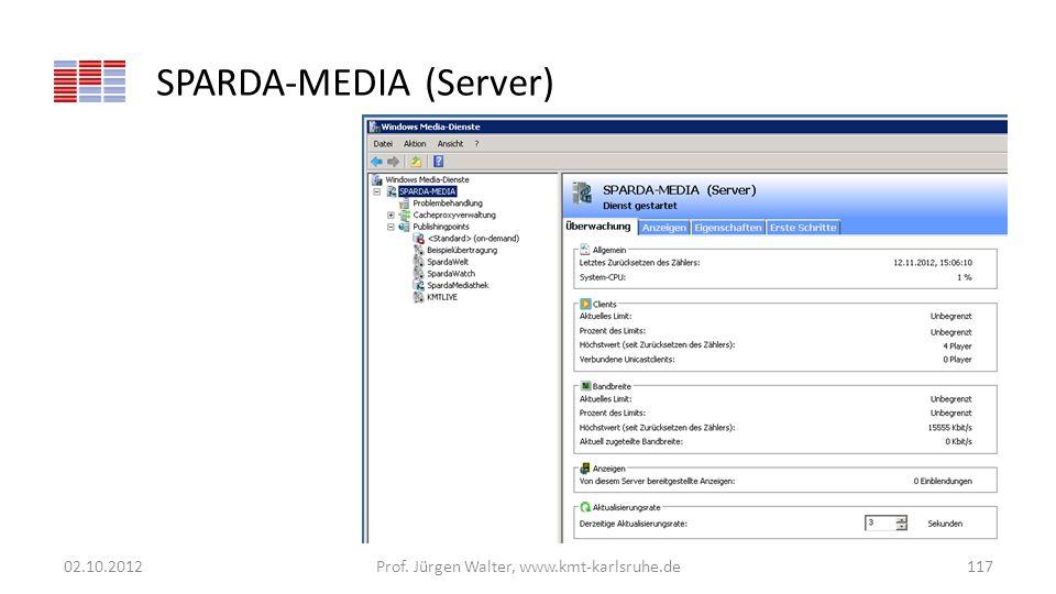 SPARDA-MEDIA (Server) 02.10.2012Prof. Jürgen Walter, www.kmt-karlsruhe.de117