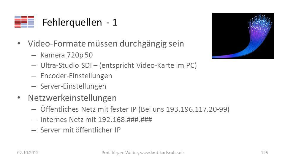 Fehlerquellen - 1 Video-Formate müssen durchgängig sein – Kamera 720p 50 – Ultra-Studio SDI – (entspricht Video-Karte im PC) – Encoder-Einstellungen –