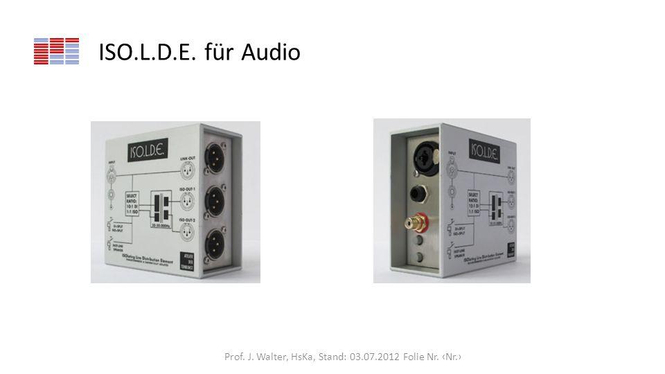 ISO.L.D.E. für Audio Prof. J. Walter, HsKa, Stand: 03.07.2012 Folie Nr. Nr.