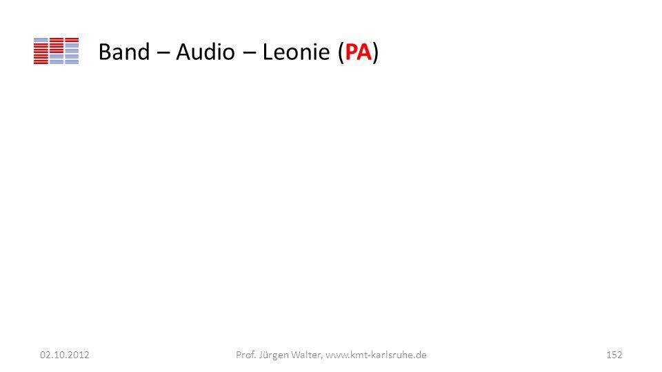Band – Audio – Leonie (PA) 02.10.2012Prof. Jürgen Walter, www.kmt-karlsruhe.de152