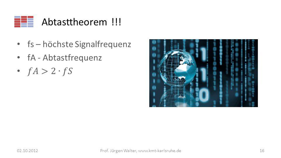 Abtasttheorem !!! 02.10.2012Prof. Jürgen Walter, www.kmt-karlsruhe.de16